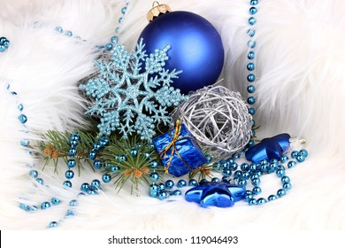 Christmas decoration in white fur