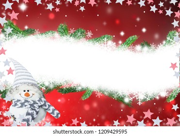 Christmas decoration  white snow background for greeting card
