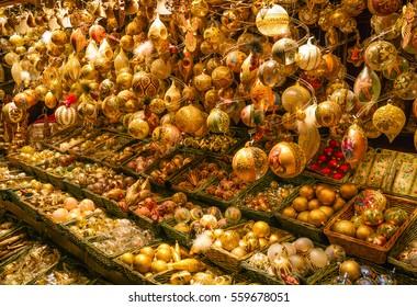 Christmas decoration in Wien Rathaus Market, December-16-2015