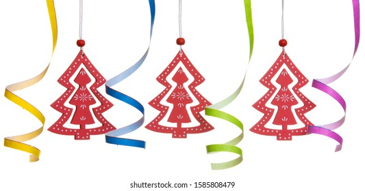 Christmas decoration wooden red tree isolated on white background with clipping path