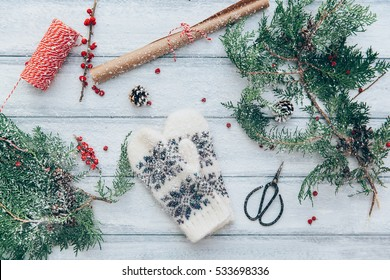 Christmas decoration, Xmas concept and idea in Winter with snow