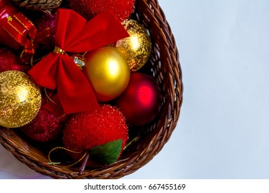 Christmas decorations in a basket background