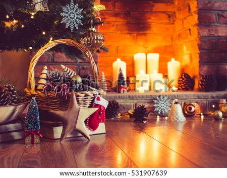 Christmas Decorations Basket Front Fireplace Candles Stock Photo