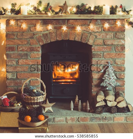 Christmas Decorations Basket Front Fireplace Handmade Stock Photo