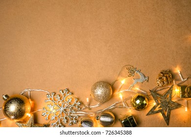 christmas decorations and blank space for christmas and new year background