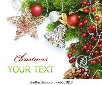 Christmas decorations border design.Isolated on white