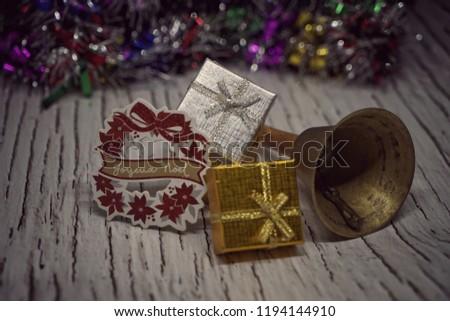 Christmas Decorations Colorful Vintage Xmas Ornaments Stock Photo