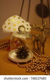 Christmas decorations, deer, pine and mushrooms