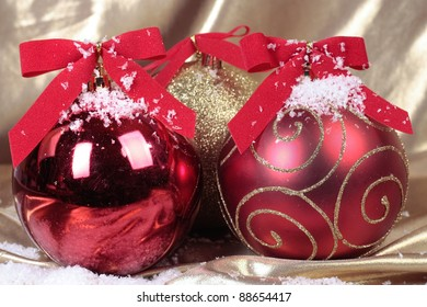 Christmas decorations detail over gold background