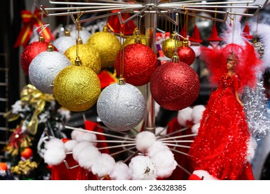 Christmas decorations displayed for selling in an Asia store