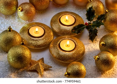 Christmas decorations and festive candles.