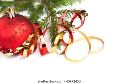 Christmas decorations and fir tree branches