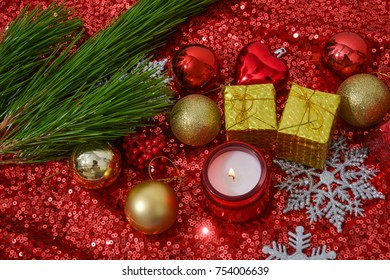 christmas decorations with fir tree,candle on Sequins on Fabric, red Beads, Sequins or Beads