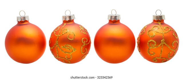 christmas decorations four orange xmas balls isolated on white background