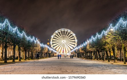 Christmas decorations in a french city, Nancy, France