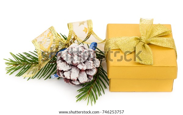 christmas decorations and gift box, isolated on white