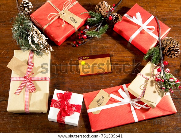 Christmas Decorations Gift Boxes On Wooden Holidays Stock Image 751535641