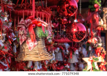 christmas decorations handmade for sale at the christmas market in vienna austria selective focus