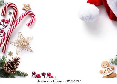 Christmas decorations and holidays sweet on white background.
