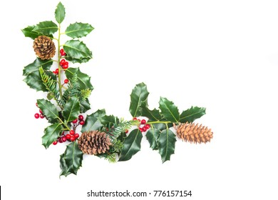 Christmas Decorations with Holly and Cones