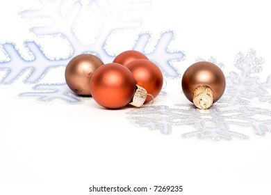 christmas decorations isolated on white. glass balls.