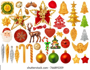 Christmas Decorations Isolated on White Background. Items: angel, star, acorn, ribbon, bell, reindeer, candies, candy cane, globe, petal, heart, santa, ornaments, candle.
