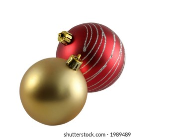 Christmas decorations isolated over white background