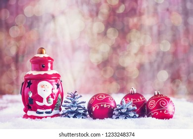 Christmas decorations with light bokeh in the background