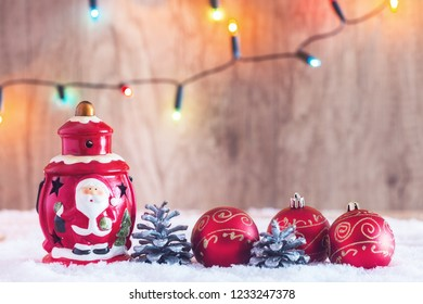 Christmas decorations with Christmas lights in the background