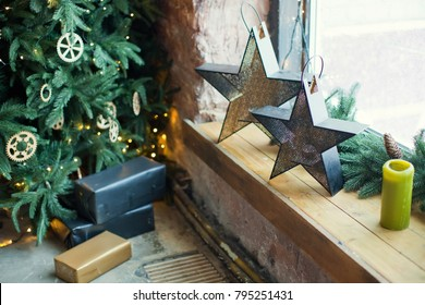 Christmas decorations in loft room