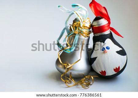 christmas decorations new years toys penguin and pear on white background merry christmas