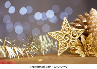 Christmas decorations on a background of lights and glare