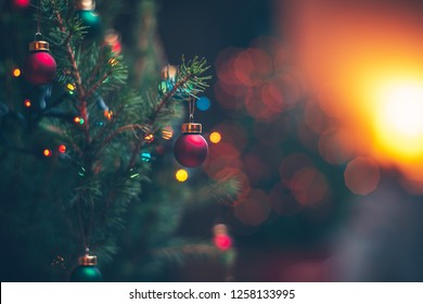 Christmas decorations on the branches fir