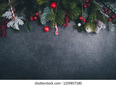 Christmas decorations on dark bacground