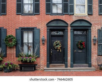 Christmas Decorations on the doors of row houses