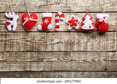 Christmas decorations on a grey wooden table