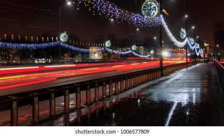 Christmas decorations on the Grunwaldzki bridge in Krakow