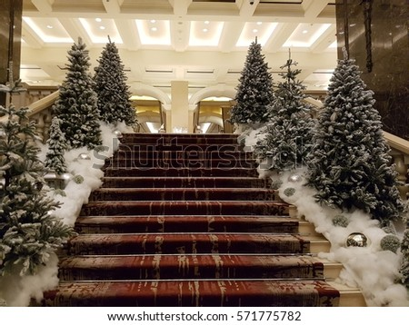 Christmas Decorations On Hotel Stairs Lebanon Stock Photo Edit Now