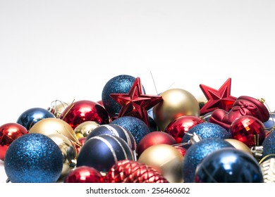 Christmas decorations on isolated background