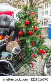 Christmas decorations on a motorcycle
