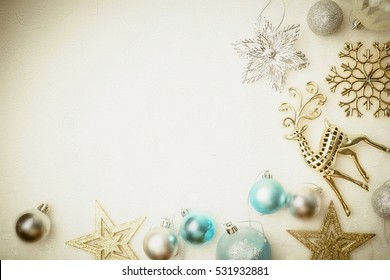 christmas decorations on mulberry paper texture for christmas and new year background