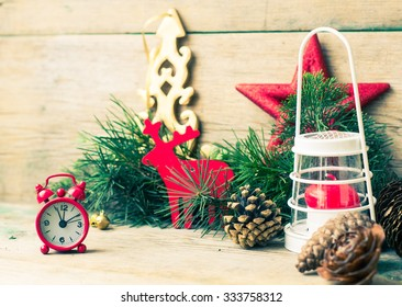 Christmas decorations on the old rustic wooden background