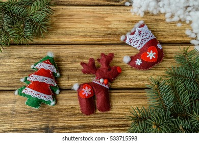 Christmas decorations on  old wooden background.