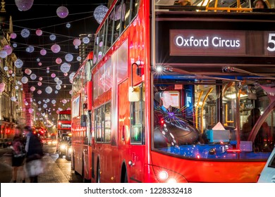 Christmas decorations on Oxford street in London