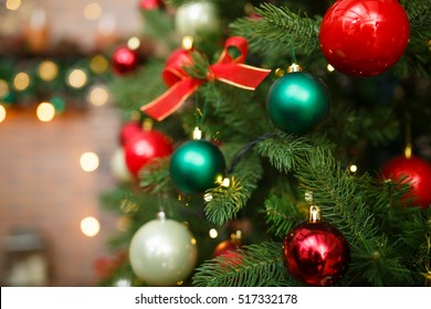 Christmas decorations on pine tree
