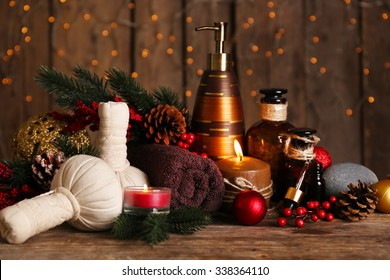 Christmas decorations on wall with lights background