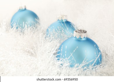 Christmas decorations on a white garland