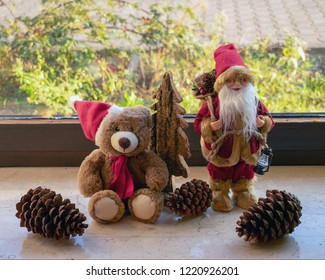 Christmas decorations on the windowsill