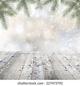 Christmas decorations on wooden background.