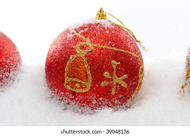 christmas decorations over snow